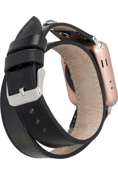 PLM Apple Watch Deri Kordon Solitaire 38-40MM Çift Tur Ferro Troklu Rst1 Siyah