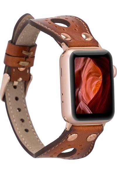 PLM Apple Watch Deri Kordon Ronda 38-40MM Ince Rose Gold Troklu RST2EF Taba