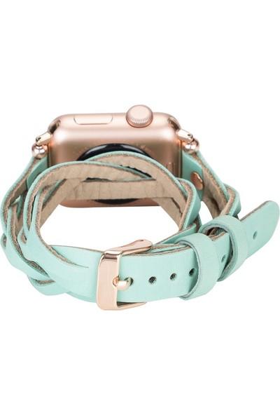 PLM Apple Watch Deri Kordon Peggy 38-40MM Çift Tur Ferro Rose Gold Trok Brn7 Yeşil