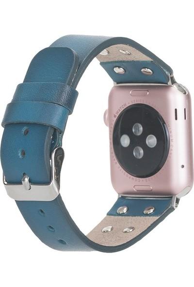 PLM Apple Watch Deri Kordon Cross 42-44MM Silver Trok BRN4EF Mavi