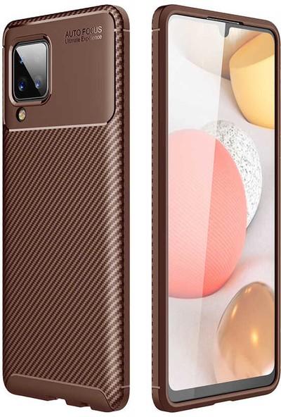 Fibaks Samsung Galaxy M12 Kılıf Rugged Armor Serisi Karbon Tasarım Silikon Negro Kahverengi