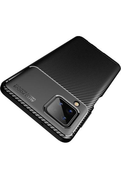 Fibaks Samsung Galaxy M12 Kılıf Rugged Armor Serisi Karbon Tasarım Silikon Negro Lacivert