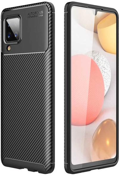 Fibaks Samsung Galaxy M12 Kılıf Rugged Armor Serisi Karbon Tasarım Silikon Negro Siyah