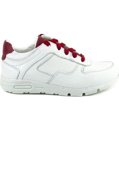 Minipicco Erkek Cocuk Beyaz Deri Anatomik Destekli Çocuk Ayakkabı