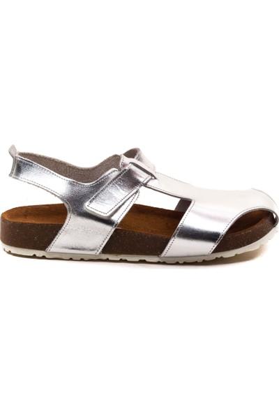 Minipicco Çocuk Gümüş Deri Anatomik Destekli Çocuk Sandalet
