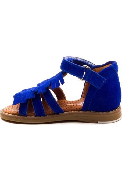 Minipicco Kız Cocuk Saks Mavi Deri Anatomik Destekli Çocuk Sandalet