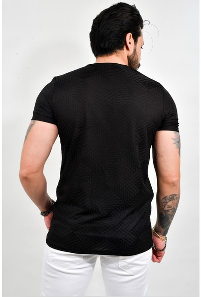 Deepsea Siyah Erkek Örme Desenli Kısa Kol Penye Tişört 2100821