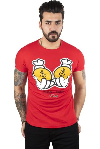 Deepsea Kırmızı Yazı Baskılı Erkek T-Shirt 2002031