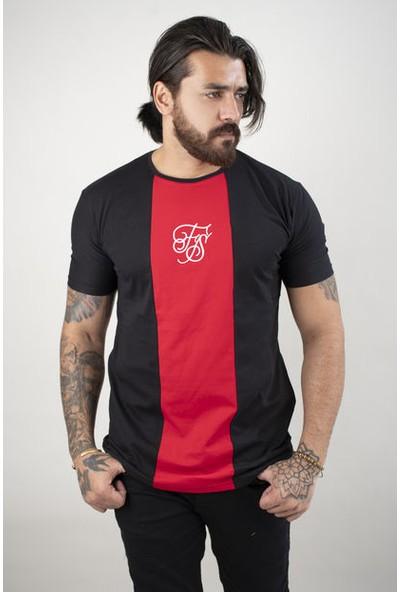 Deepsea Siyah Çift Renkli Yazı Işlemeli T-Shirt 2002018