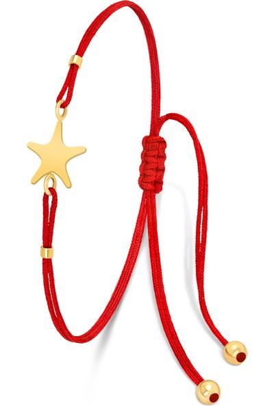 Fay Yamaner 14 Ayar Altın Yıldız Ipli Bileklik