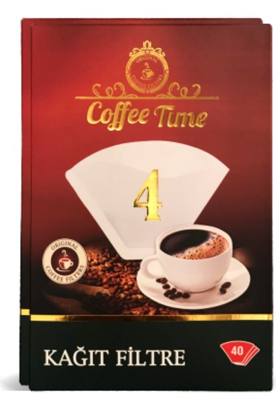 Coffee Time 4 Numara Filtre Kahve Makinesi Kağıdı – 40'lı