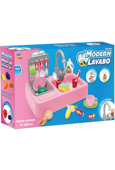 Kayyum Oyuncak Modern Mutfak Çeşmeli Lavabo Set Mutfak Oyuncak Seti