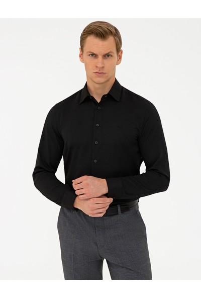 Pierre Cardin Siyah Slim Fit Armürlü Gömlek 50240405-VR046