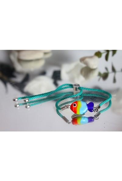 Adamodart Renkli Cam Balık Figürlü 3'lü Bileklik Seti