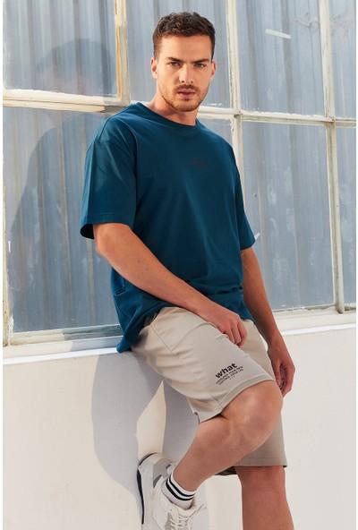 Tommy Life Zümrüt Erkek Küçük Yazı Baskılı Oversize O Yaka T-Shirt - 87985