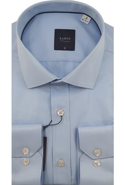 Kamer Reguler Fit Düz Mavi Erkek Gömlek 1749M2