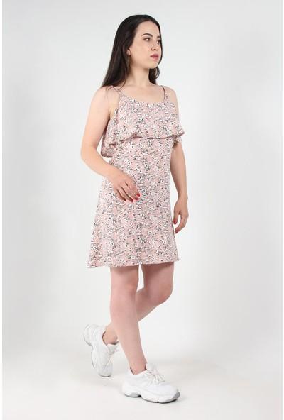 Mckanzie 58209 Viskon Ip Askılı Yakası Katlı Elbise