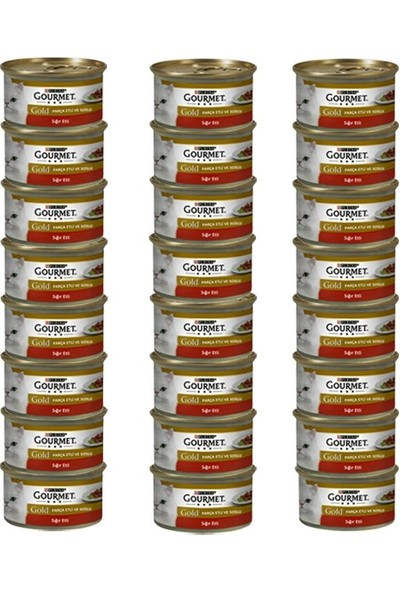 Gourmet Gold Parça Etli ve Soslu Sığır Etli Kedi Konservesi 85 gr x 24 Adet
