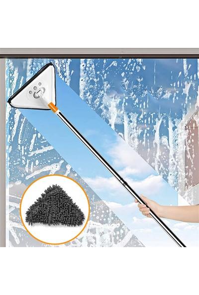 Pazariz Teleskopik Üçgen Camsil Duvar Yüzey Cam Silme Aparatı Mop Mikrofiber Sprey