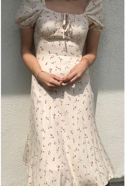 4 Sisters Fashion Pembe Çiçek Desenli Krem Midi Boy Elbise