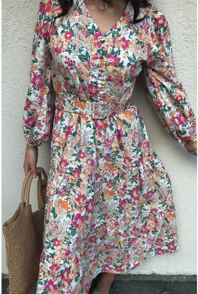 4 Sisters Fashion Çiçekli Uzun Kollu Maxi Kemerli Elbise