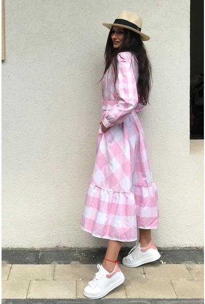 4 Sisters Fashion Uzun Kollu Pembe Ekoseli Kemerli Uzun Gömlek Elbise