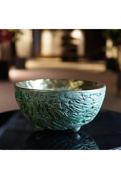 Eliztree Dayanıklı Dekoratif Fiberglas Polyester Saksı ve Vazo - Green Bowl