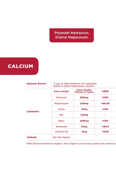 Phytodef Kalsiyum, Magnezyum, Çinko - 60 Tablet