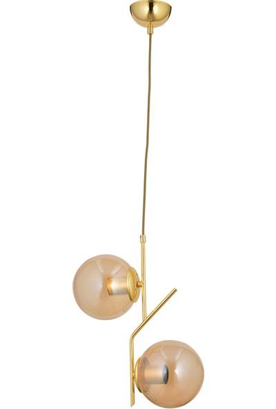 Lightica Eylül 2'li Gold Bal Sarkıt Avize