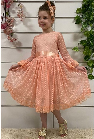 Baby Kız Çocuk Dantelli Elbise Pudra 4014-