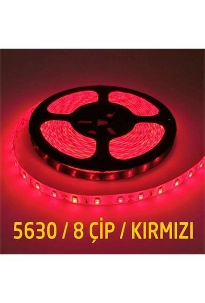 Ookay 5630 Şerit LED 8 Çipli Silikonsuz Şerit LED Kırmızı 5 Metre Şerit LED