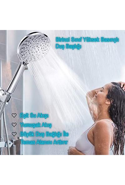 Kustar Nilüfer 3 In 1 5 Fonksiyonlu Banyo Duş Başlığı Seti L Mafsal ve 1,5 Metre Örgülü Hortum Seti