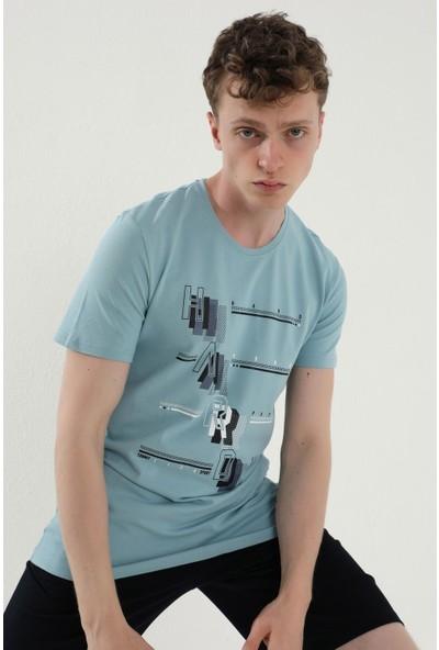 Tommy Life Buz Mavi Erkek Eğimli Yazı Baskılı Standart Kalıp O Yaka T-Shirt - 87971