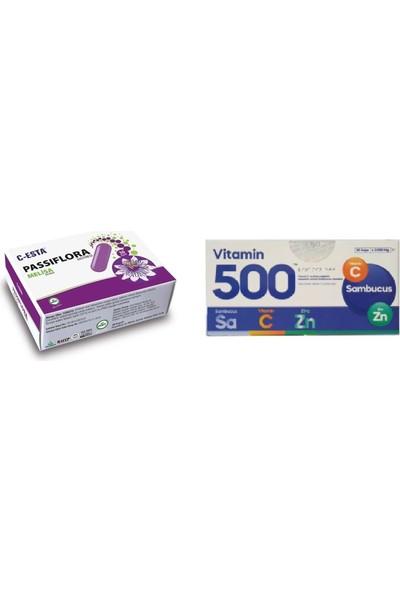 C-Esta Passiflora Melisa Ekstresi 30 Kap. Vitamin 500 30 Şaşe Sambucus + Vitamin C + Çinko
