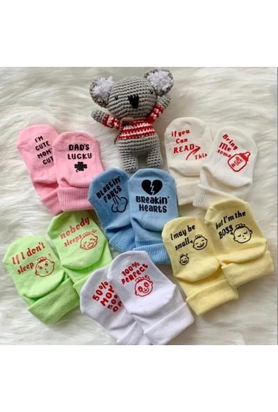 Funny 6'lı 6 Renk Özel Baskılı Eğlenceli Yenidoğan Bebek Çorapları Hediyelik Seti