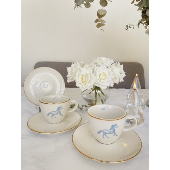 Boes Porselen Royal Serisi Porselen Çay Fincanı Çift Taraflı (2 Adet Mavi)
