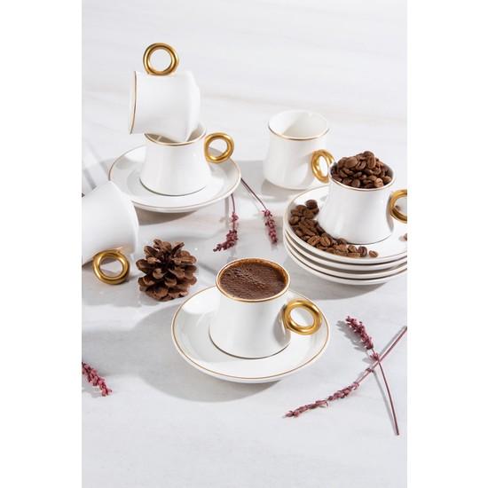 Acar Anissa 6lı Porselen Oval Kahve Fincan Takımı
