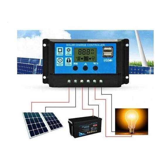 Schulzz Dijital Güneş Paneli Solar Akü Şarj Kontrol Cihazı 12V 24V 10 Amper