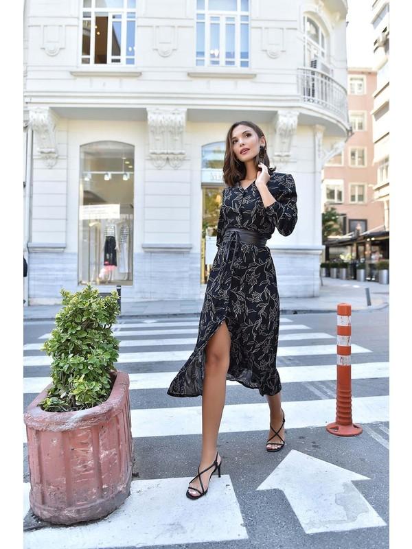 Selectviva Siyah Kemerli Uzun Gömlek Elbise