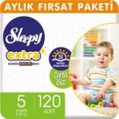 Sleepy Extra Aylık Fırsat Paketi Günlük Aktivite Bezi 5 Numara Junior 120'li
