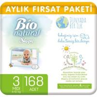Sleepy Bio Natural Aylık Fırsat Paketi Bebek Bezi 3 Numara Midi 168'li