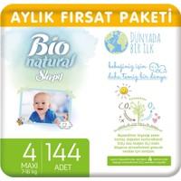Sleepy Bio Natural Aylık Fırsat Paketi Bebek Bezi 4 Numara Maxi 144'lü
