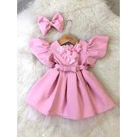 Mialoveis Kız Bebek Karpuz Kol Elbise Toka Hediyeli
