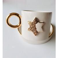 Adamodart Gold Yıldız Desenli Seramik Duble Türk Kahvesi Fincanı, El Yapımı, 24K Altın Dekorlu