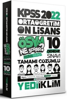 Yediiklim Yayınları KPSS 2022 Ortaöğretim Ön Lisans Genel Kültür - Genel Yetenek Tamamı Çözümlü 10 Fasikül Deneme