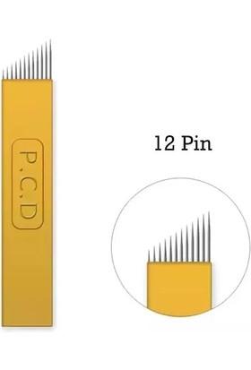 Pcd 10 Adet 12 Pin U Sarı P.c.d. Kalıcı Makyaj Dövme Microblading Iğnesi