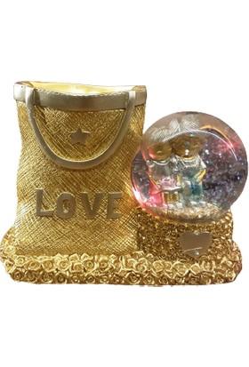 Pınarstore Işıklı Sulu Altın Love Yazılı Kalemlik