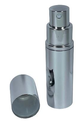 Çınar Ticaret Gümüş Rengi Yeniden Doldurulabilir Çanta Içi 10 ml Kolonya / Parfüm Şişesi (Cam Hazneli)