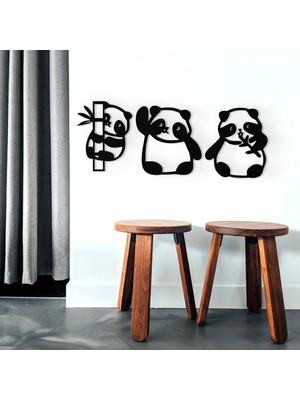 İon Wooden Factory Dekoratif 3 Lü Panda Duvar Dekoru, Lazer Kesim
