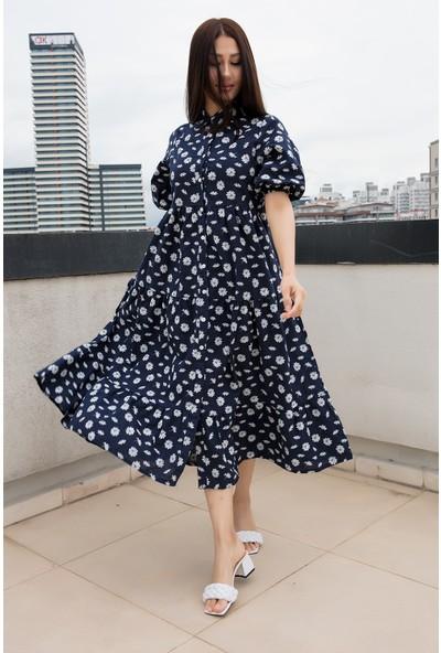 Kalopya Bayan Papatya Nakışlı Yakalı Elbise EL029
